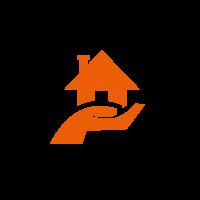 Kreis mit oranger Grafik von einer Hand die ein Haus hält