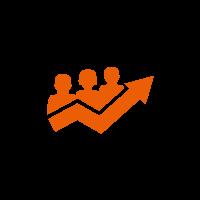 Kreis mit oranger Grafik von drei Personen und einem Graph
